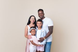family standing in Huntingdon family photography studio session